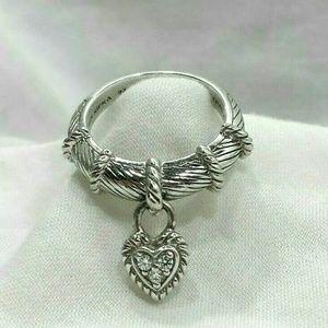 Judith Ripka Sterling Silver Ring Heart Dangle 925